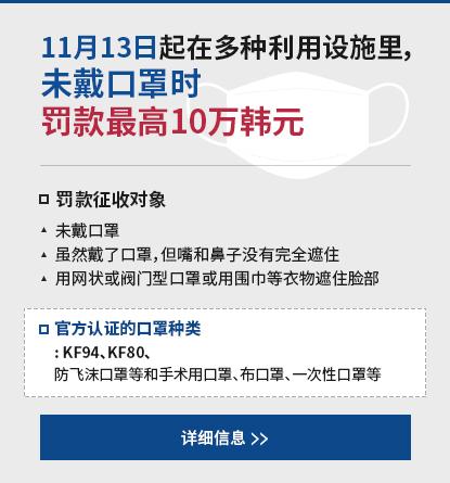 11月13日起在多种利用设施里,未戴口罩时罚款最高10万韩元
